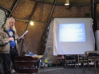 Vice Archdruid Kirk giving a workshop in the dome, 2009
